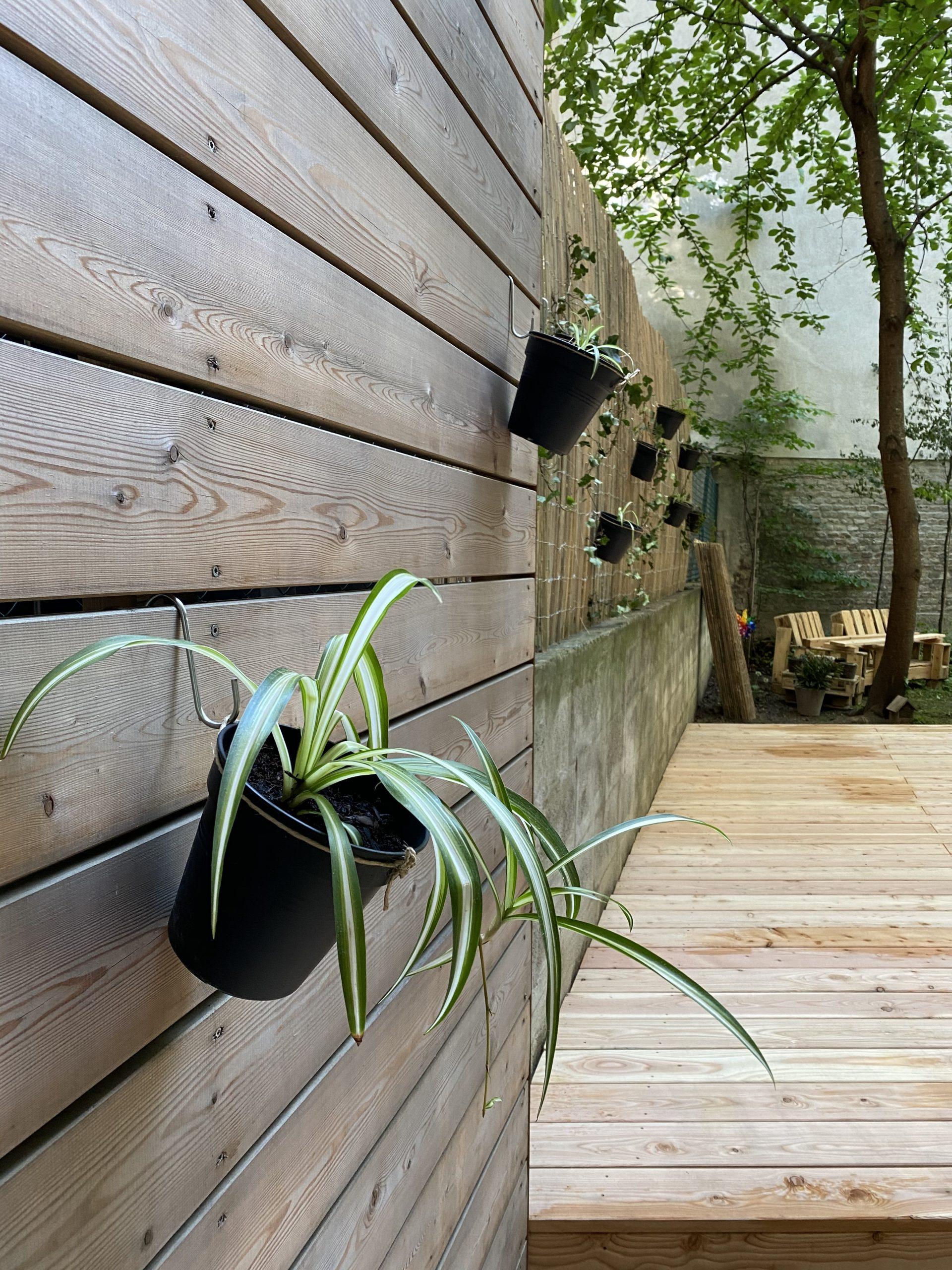 Blumentopf hängend an einer Holzwand, im Hintergrund hängen noch weitere Blumentöpfe mit Pflanzen