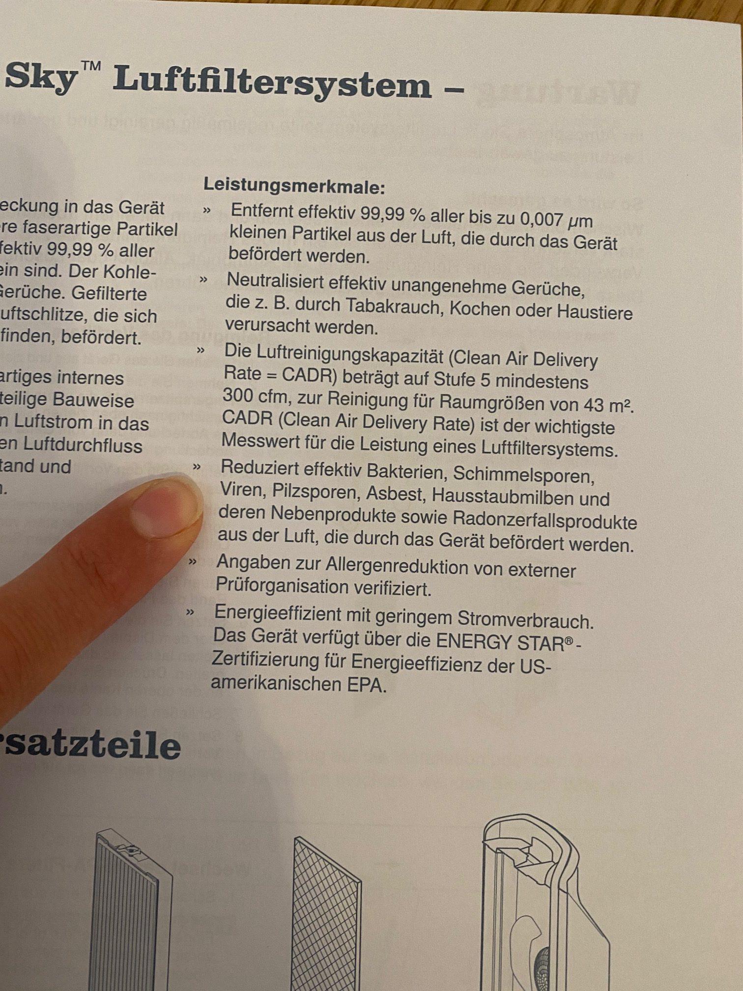 Ein Auszug aus der Beschreibung des Luftfilters, hier wird erwähnt, was der Luftfilter alles herausfiltert.