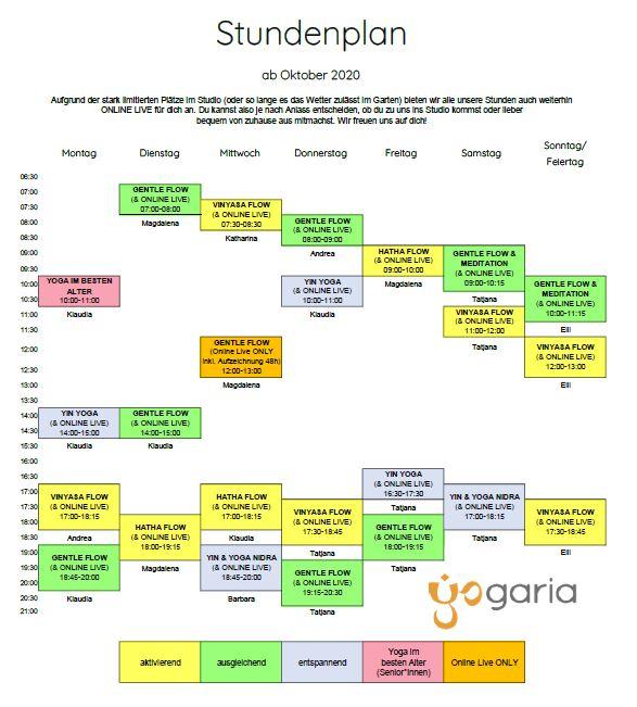 Stundenplan Yogaria