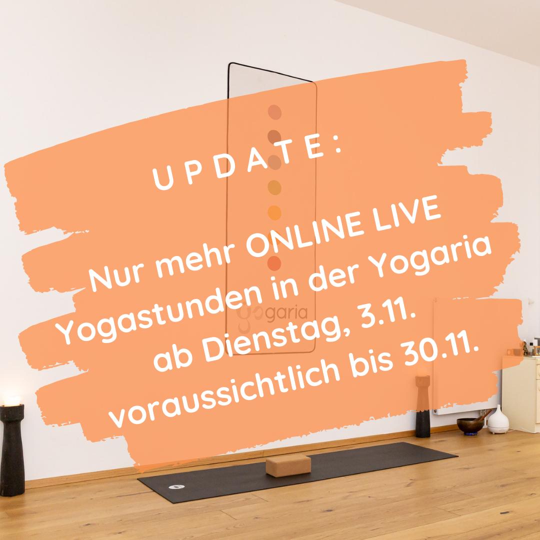 der Text ist auf einem orangenen Hintergrund vor dem Bild der Yogaria Yogalehrermatte abgebildet, darauf befindet sich der Text