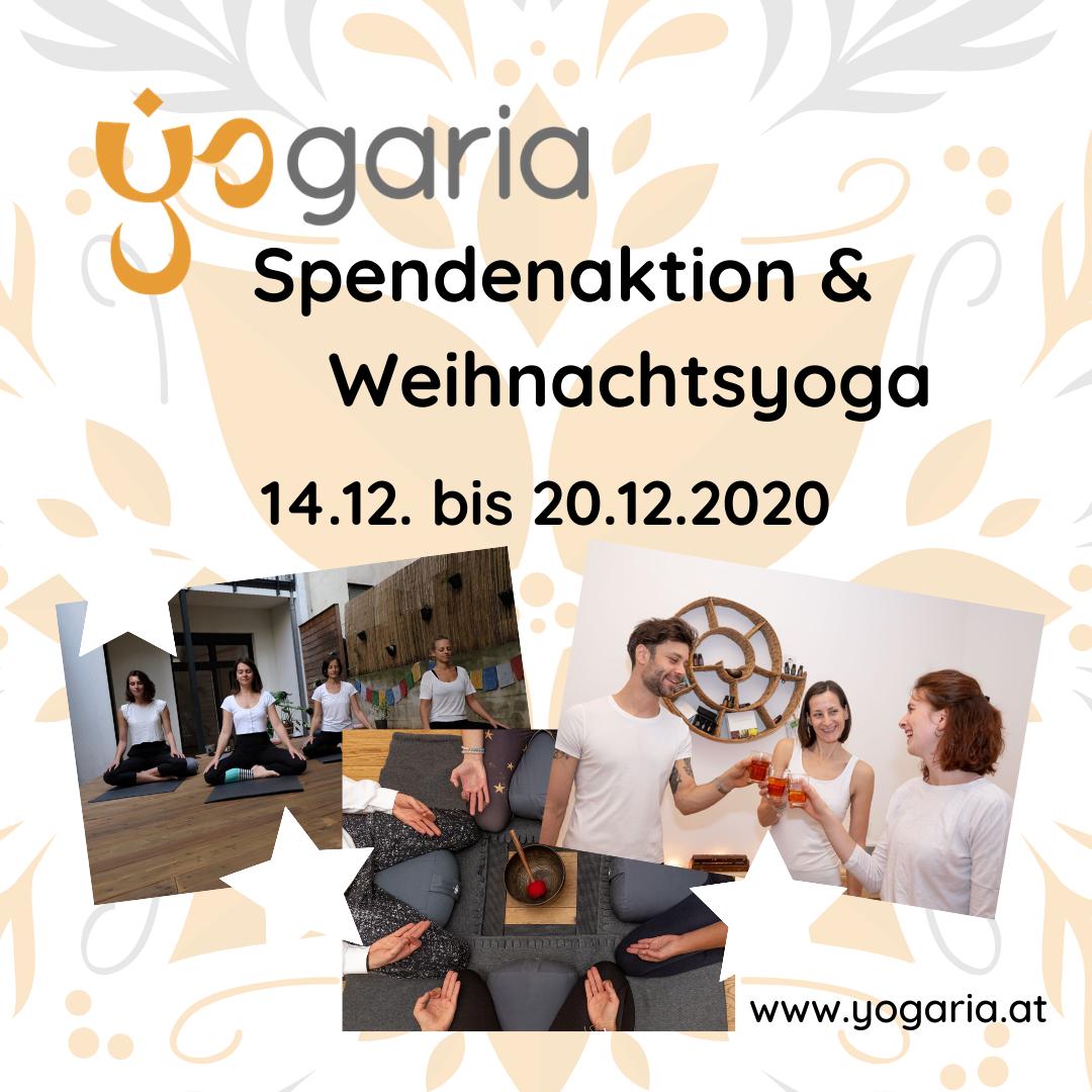 3 Fotos sind im unteren Drittel des Bildes eingefügt, eine Gruppe von 4 Mädchen beim Yoga, Ein Sitzkrseis rund um eine Klangschale, 3 Personen trinken Tee und stossen an
