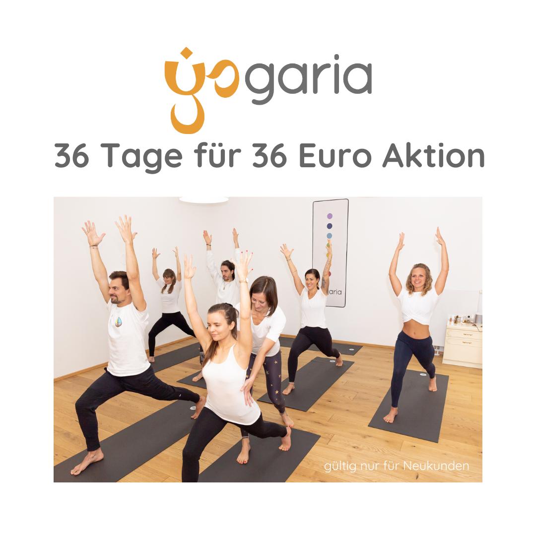 7 Yogis in der Haltung des Kriegers 1 mit den Armen zur Decke gestreckt im Yogaraum der Yogaria